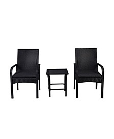 3-Piece Rattan Wicker Modern Seating Set