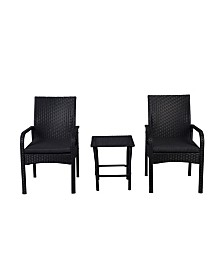 Westin Furniture 3-Piece Rattan Wicker Modern Seating Set