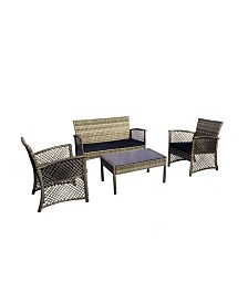 Westin Furniture 4-Piece Woven Rattan Wicker Sofa Set