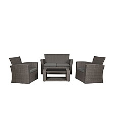 4-Piece Conversation Sofa Set with Cushions