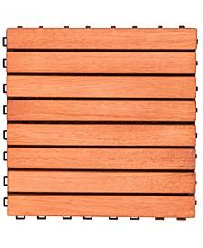 Outdoor Patio 8-Slat Eucalyptus Interlocking Deck Tile Set of 10 Tiles