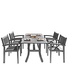 Renaissance Outdoor Patio Hand-Scraped Wood 5-Piece Dining Set with Stacking Chairs