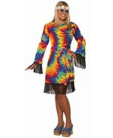 Women's Hippie Tie Dye Dress Plus Adult Costume