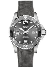 Longines Men's Swiss Automatic HydroConquest Gray Rubber Strap Watch 43mm