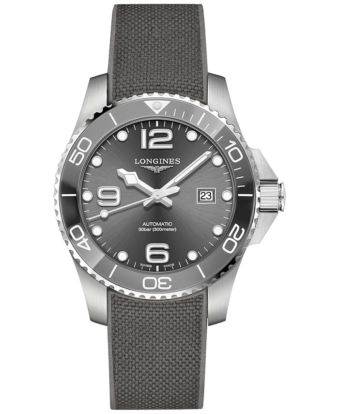 Longines - Men's Swiss Automatic HydroConquest Gray Rubber Strap Watch 43mm