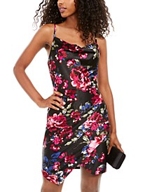 Juniors' Floral-Print Ruched Sheath Dress
