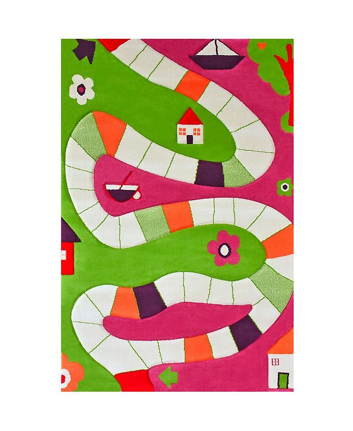 """IVI - Playway Pink Soft Nursery Rug with a Playful Design for Kids Bedrooms and Playrooms, Non-Toxic, Hypo-Allergenic, 59""""L x 39""""W"""