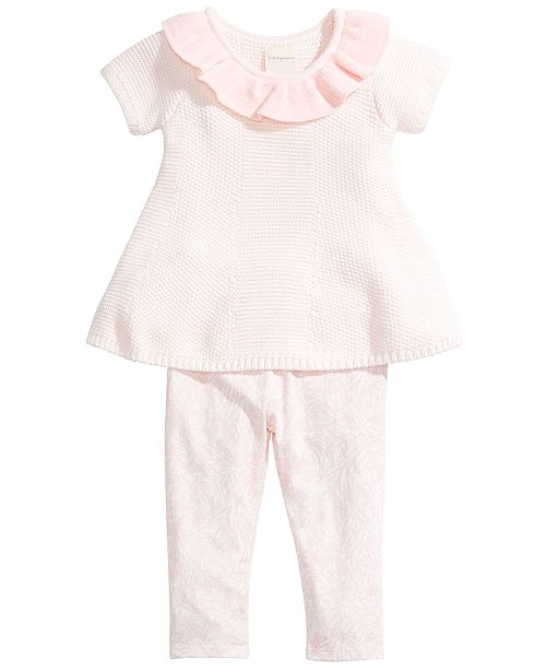 First Impressions Baby Girls 2-Pc. Sweater Tunic & Printed Leggings Set, Created for Macy's