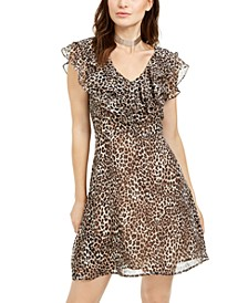 Animal-Print Ruffled A-Line Dress