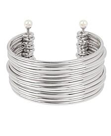 Pearl Silver Multi Row Cuff Bracelet