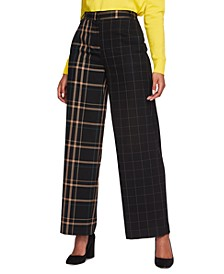Mixed-Plaid Wide-Leg Pants