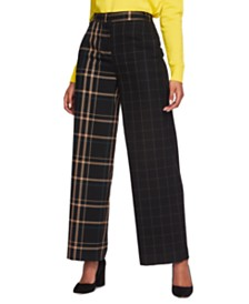 1.STATE Mixed-Plaid Wide-Leg Pants