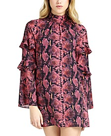 Cathy Printed Ruffled-Sleeve Shift Dress
