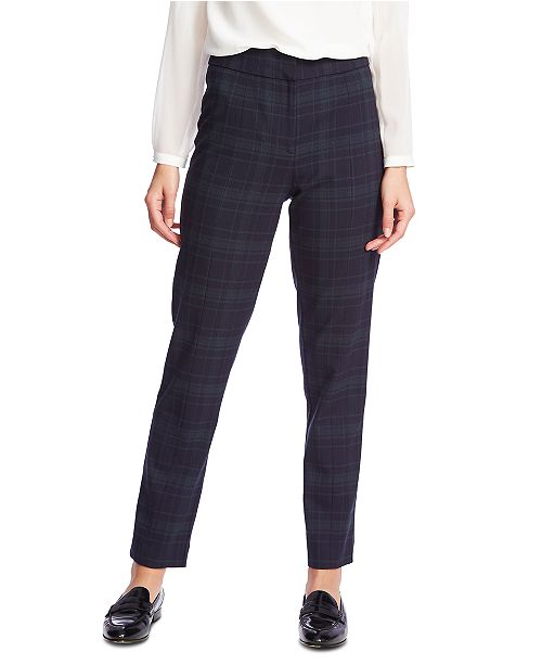 1.STATE Plaid Flat-Front Pants