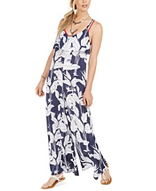 Juniors' Sweety Smile Printed Jumpsuit Swim Cover-Up