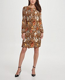 Pleated Floral Animal Shift Dress