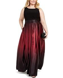 Plus Size Ombre A-Line Gown