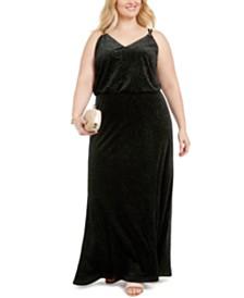 Calvin Klein Plus Size Sparkle Velvet Blouson Gown