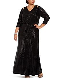 Plus Size Sequin Gown