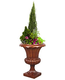 Gardenised Corinthian Tuscany Urn Planter, Wood Color Finish, Indoor Outdoor Planter