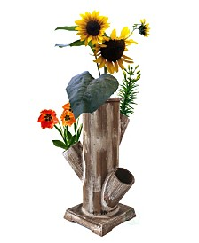 Gardenised Tree Stump Style Garden Tower Vertical Flower Planter with 4 Planting Slots