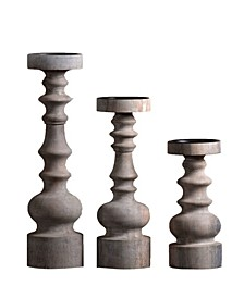 """Bellini Candle Solid Wood 3"""" Dia Candle Holder Stand in Vintage-Inspired Finish Set of 3"""