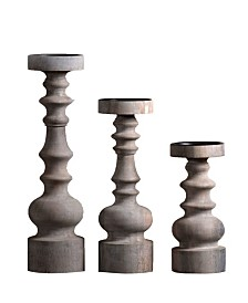 "Villa2 Bellini Candle Solid Wood 3"" Dia Candle Holder Stand in Vintage-Inspired Finish Set of 3"
