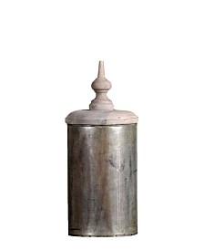 Aladin Vase Lid Finished in Vintage-Inspired Distressed Zinc Lota Vintage-Inspired Finish