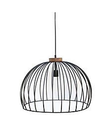 Caged Iron Wire Solid Wood Single Light in Weathered Vintage-Inspired Finish 25 Watt