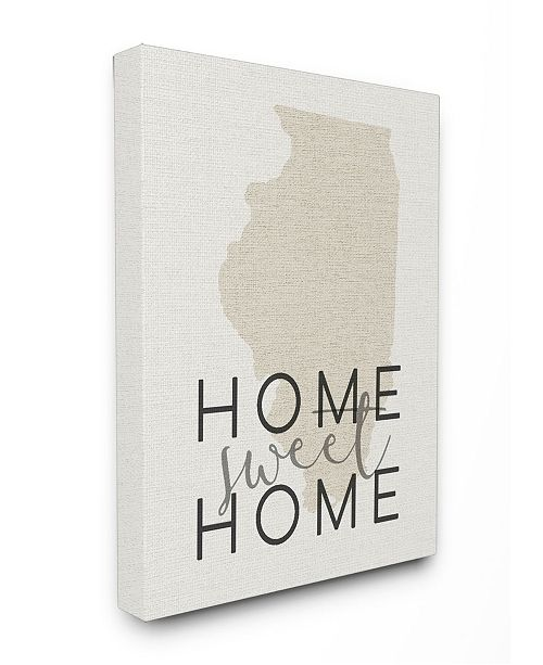"""Stupell Industries Home Sweet Home Illnois Typography Canvas Wall Art, 24"""" x 30"""""""