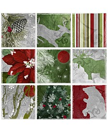"""Silver Red Gold Nature Christmas 9 Piece Canvas Wall Art Set, 12"""" x 12"""""""