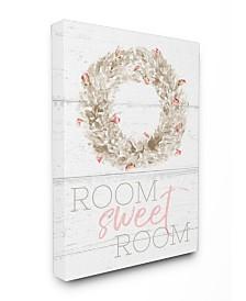 "Stupell Industries Room Sweet Room Boxwood Watercolor Wreath Canvas Wall Art, 16"" x 20"""