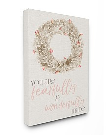 """Stupell Industries Fearfully Wonderfully Made Wreath Watercolor Canvas Wall Art, 16"""" x 20"""""""