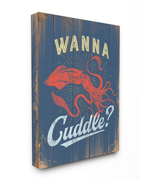 """Stupell Industries Cuddle with a Squid Canvas Wall Art, 16"""" x 20"""""""