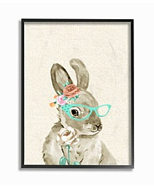 """Woodland Bunny with Cat Eye Glasses Framed Giclee Art, 11"""" x 14"""""""