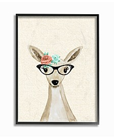 "Woodland Deer with Cat Eye Glasses Framed Giclee Art, 11"" x 14"""