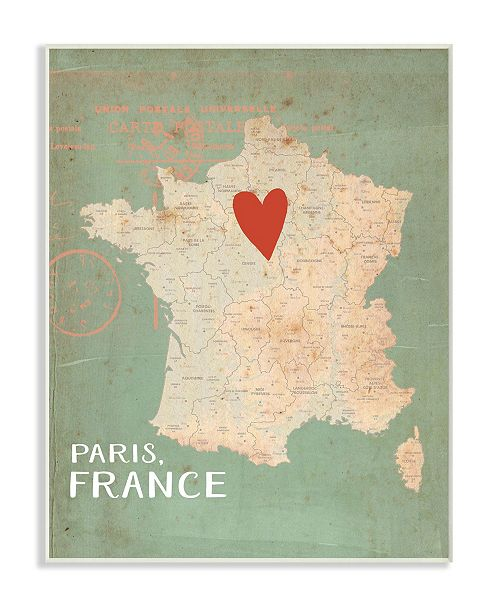 """Stupell Industries My Heart is in Paris Map Wall Plaque Art, 10"""" x 15"""""""
