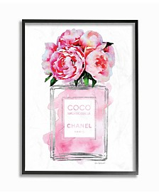 "Stupell Industries Glam Perfume Bottle V2 Flower Silver Pink Peony Framed Giclee Art, 11"" x 14"""