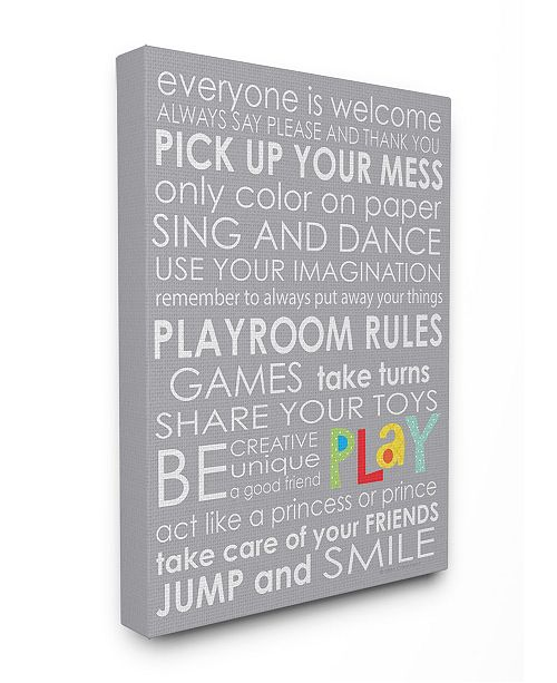 "Stupell Industries Home Decor Everyone Is Welcome Playroom Rules on Gray Canvas Wall Art, 16"" x 20"""