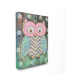 """Stupell Industries The Kids Room Distressed Woodland Owl Canvas Wall Art, 24"""" x 30"""""""