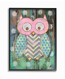 """Stupell Industries The Kids Room Distressed Woodland Owl Framed Giclee Art, 16"""" x 20"""""""