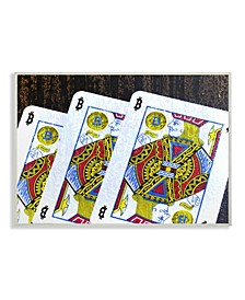 """Bitcoin on Playing Cards Wall Plaque Art, 10"""" x 15"""""""