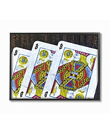 """Stupell Industries Bitcoin on Playing Cards Framed Giclee Art, 11"""" x 14"""""""