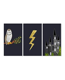 """Stupell Industries Wizardry Owl Castle and Lightning 3 Piece Wall Plaque Art Set, 10"""" x 15"""""""
