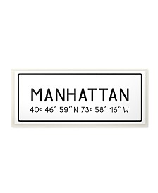 "Stupell Industries Plate City Coordinates Manhattan Wall Plaque Art, 7"" x 17"""