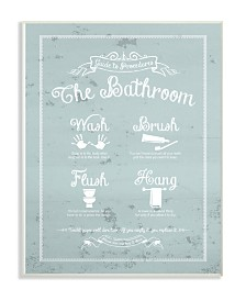 """Stupell Industries Guide To Procedures Bathroom Blue Wall Plaque Art, 12.5"""" x 18.5"""""""