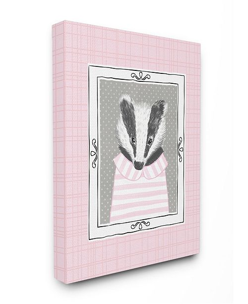 "Stupell Industries Badger Portrait Pink Canvas Wall Art, 16"" x 20"""