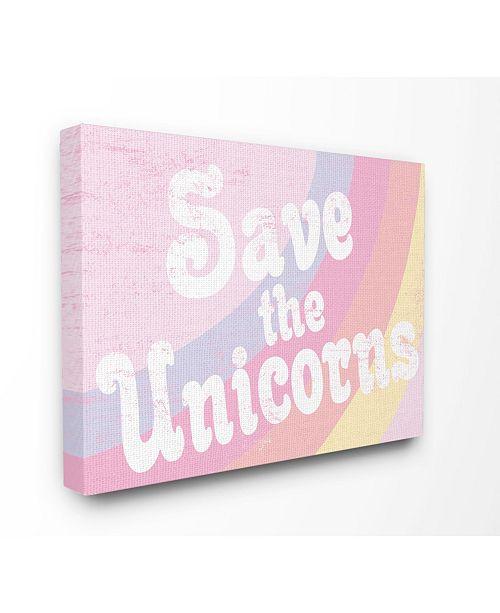 "Stupell Industries Save The Unicorns Canvas Wall Art, 16"" x 20"""