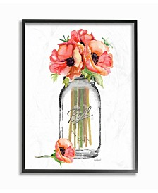 "Mason Jar Poppys Framed Giclee Art, 11"" x 14"""