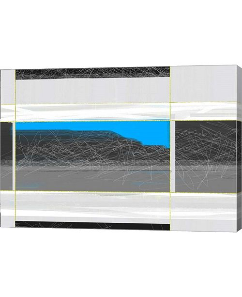 """Metaverse Abstract White and Blue by Naxart Canvas Art, 28.5"""" x 20"""""""